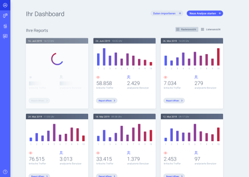 Screenshot des addCube Dashboards
